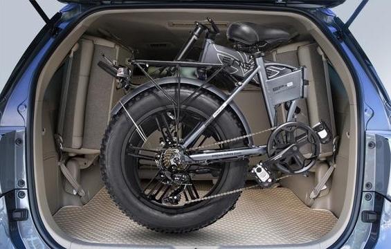 Electric mountain bike in trunk